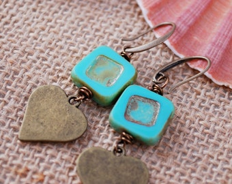 Heart earrings, Rustic bohemian earrings, Teal square boho earrings, unique everyday simple earrings
