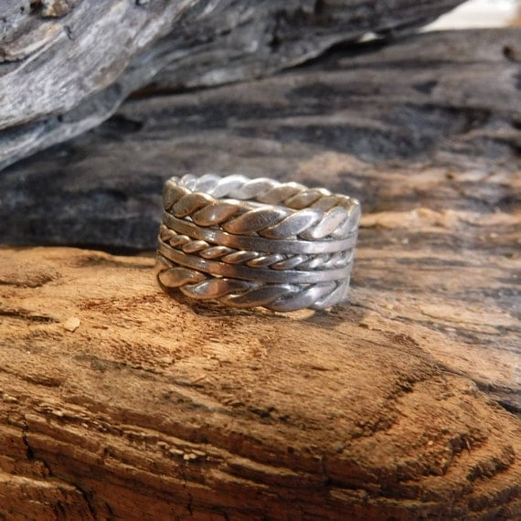 Large Mens Ring Mexico Sterling Silver Mens Ring Heavy 7.9 Grams Size 8 Stamped 925 Mexico  Ring Mens Ring Wide Band sterling Silver Ring