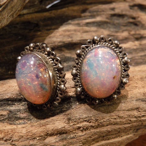 Large Sterling Silver Foil Opal Earrings Heavy Vintage Sterling Silver 9.5 Grams 925 Mexico Screw back Earrings Vintage Silver Earrings