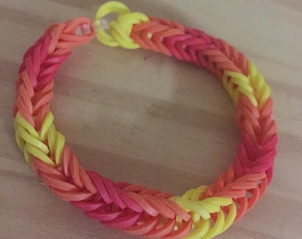 Red Orange Yellow Rainbow Loom Colorful Fishtail Simple Bracelet (Proceeds donated to the International Child Art Foundation)
