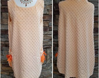 Short super soft peach on peach dotted short dress - extra large