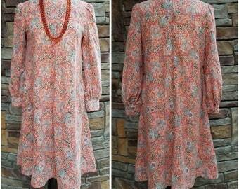 70s dark peach paisley print tent dress - large/extra large
