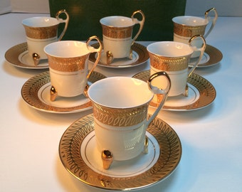 Demitasse Set, Gold Leaf Pattern Set of Six, Demitasse China from The Monarch Plaza Hotel, Cup and Saucers