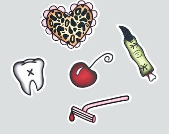 Cute & Creepy Sticker Packet - vinyl silkscreen stickers