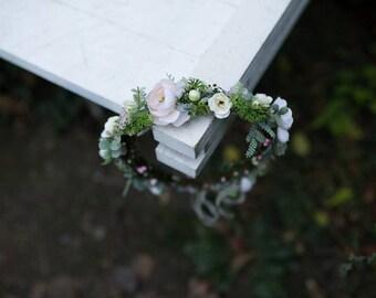 Floral wreath Romantic wedding wreath Hair accessories Floral headband Wedding hair accessories