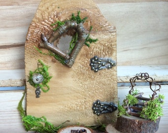 Fairy Door with Tiny Key ~ Each Hand Cut ~ One of a Kind ~ Several Sizes  Handcrafted by Olive, Fairy Accessories, Fairy House, Fairy Door,