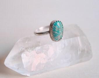 Vintage Turquoise Ring, Size 5 Ring, Vintage Boho Jewelry, Southwestern Jewelry, Boho Turquoise, Sterling Silver Turquoise