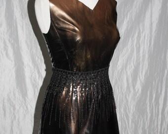Faux leather dress [Black/copper] - Gr. 38