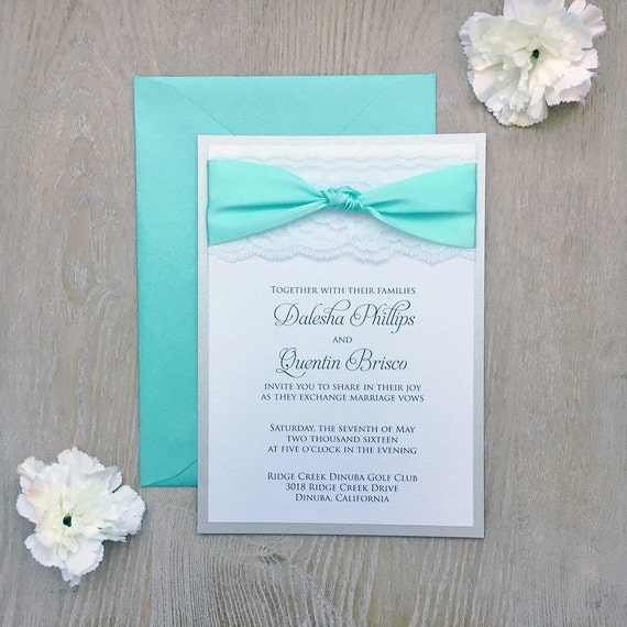 THE KNOT - White Lace Wedding Invitation with Satin Ribbon Bow- Classic Lace Wedding Invitation - Silver Shimmer and Aqua Ribbon Bow