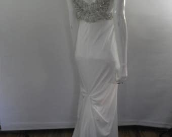 Vintage 90s Wedding dress - cream 40s art deco style heavily beaded v back  - size Medium to small