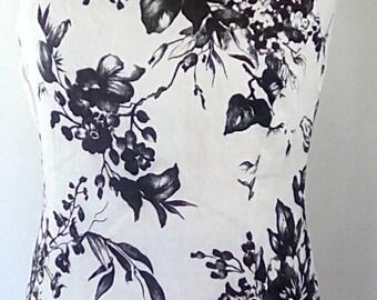 Vintage maxi dress 90s by Traffic black white monochrome floral dress linen size medium