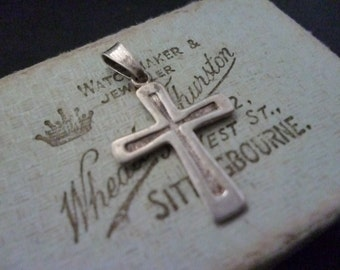 "Vintage sterling silver crucifix - 925 - Small - 1.1"" x 0.75"""