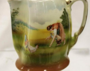 ANTIQUE Royal Bayreuth CREAMER Man Feeding Chickens SCENIC Landscape Miniature Pitcher Early Bavarian Porcelain