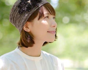 Women's Flower Hat   Flower Beanie for Ladies   Gold Trim Floral Hat   Girls Cute Beanie   Designer Summer Beanie   Feminine Hat   be-kir