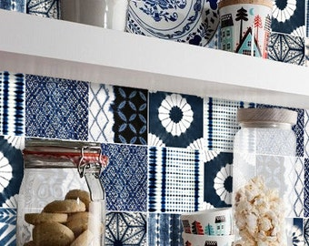 Shibori Patchwork Mix Wallpaper in Indigo  Removable Vinyl Wallpaper - Peel & Stick - No Glue, No Mess
