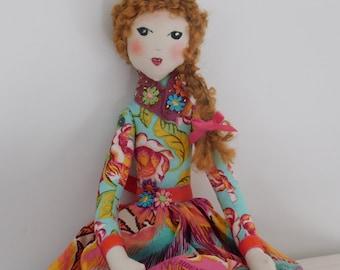 Rag Doll, Cloth Doll, Art Doll, Fabric Doll, Handmade Doll, Heirloom Doll, Collector's Doll, Cute Doll, Pink Doll, Gift for girl