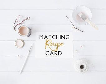 Matching Recipe Card Bridal Shower recipe Card Wedding Shower Bachelorette Recipe Card