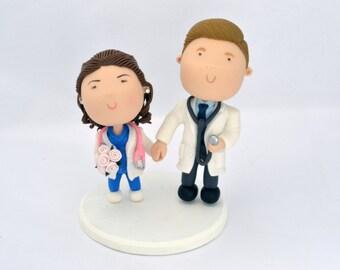 Physicians - Doctors. Couple holding hands. Wedding cake topper. Handmade. Unique keepsake