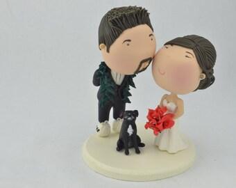 Cute couple kiss  - Groom with lei - Hawaiian Wedding . Cute pets. Wedding figurine. Handmade. Fully customizable. Unique keepsake