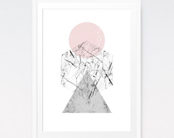 Geometric Prints, Pink and Grey Marble Art, Modern Scandinavian Marble Decor, Living Room Decor, Abstract Geometric, Digital Poster Download