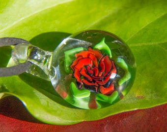 Glass Rose Pendant - Blown Glass Flowers - Boro Flower Jewelry - Heady Flower Necklace - Heady Rose Jewelry - Flower Implosion Necklace