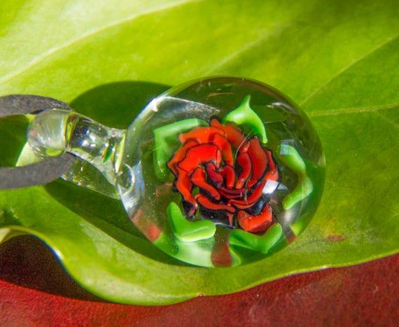 verre rose pendentif fleurs en verre soufflé boro fleur