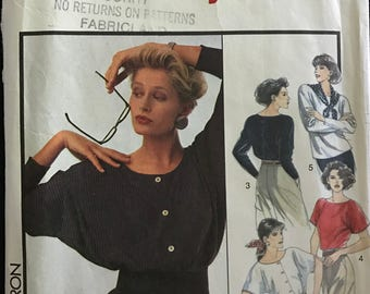Style 1481 - 1980s Tops with Dolman Sleeves and Scoop Necklines - Size Large