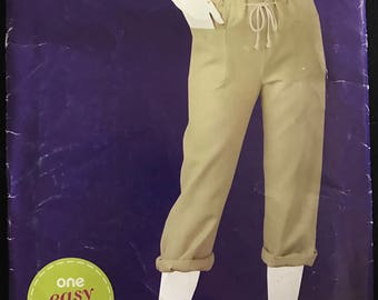 Simplicity E1967 - Sew Simple Cropped Pants with Drawstring Waist - Size 10 12 14 16 18 20 22