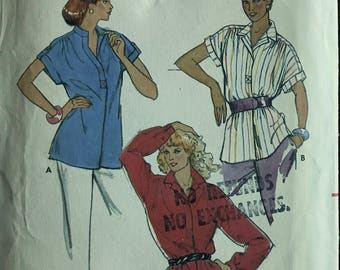 Butterick 6888 - 1980s Loose Fitting Blouse with Front Placket and Banded or Notched Collar - Size 12 Bust 34