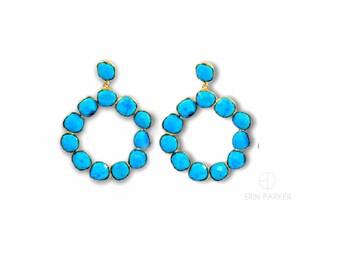 Kingman Turquoise Earrings | Silver Turquoise Earrings | Natural Stone Earrings | Turquoise Earrings