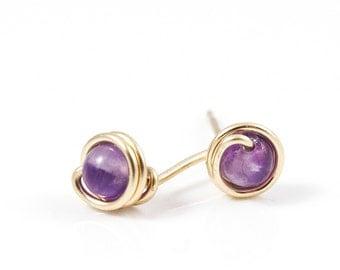 14k Gold Fill Studs, Amethyst Earrings, Amethyst Studs, Tiny Gemstone Earrings, Tiny Stud Earrings, Dainty Earrings