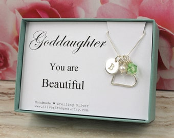 Goddaughter gift etsy goddaughter gift necklace for goddaughter sterling silver birthstone initial communion necklace goddaughter jewelry easter negle Image collections