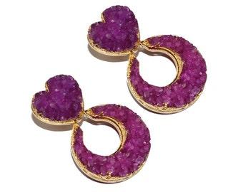 51mm 24k Gold Electroplated Hot Pink Druzy Heart & Moon Earrings - Druzy Designer Earrings - Crescent Moon Earrings - Druzy Heart Earrings