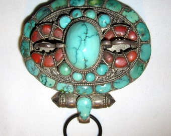 Antique Tibetan Gau/Prayer/Reliquary Box-Turquoise and Coral Stones on Silver