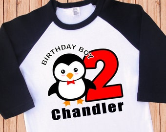 Boy Penguin Birthday Shirt. Personalized Raglan. 1st 2nd 3rd 4th 5th 6th Birthday. [Penguin Birthday, Penguin T Shirt, Penguin Party] (2115)