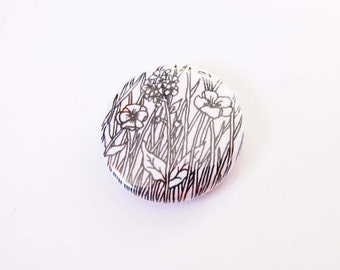 white floral badge - pinback button -