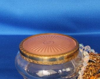 Gold Metal Pink Satin Lidded Powder Bowl