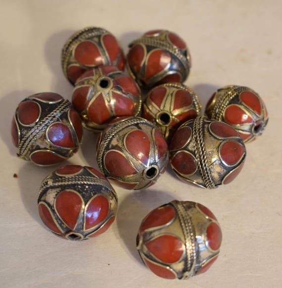 Beads Middle Eastern Coral Brass Round Beads Handmade Handcrafted 5 Lot Coral Beads Brass Crafts Jewelry Beads