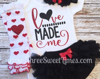 Baby girl Valentine's Day outfit Love Made Me bodysuit opt Leg Warmers Headband Bloomers Red White Black Glitter