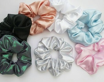 Big Handmade Silk Scrunchie Hair Bobble in Holographic Mermaid Green, Rose Gold, Baby Blue and Pink, White, Black and Silver