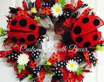 Ladybug Wreath, Red and Black Lady Bug Wreath, Spring Wreath