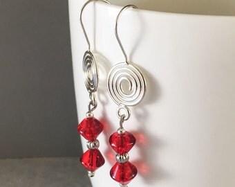 Red dangle earrings, red earrings, red drop earrings, red beaded earrings, earrings red