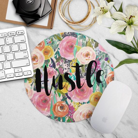 Mouse pad hustle floral office decor cute desk accessories for Cute decor items