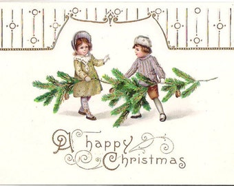 Antique Christmas Postcard 1915 Gold Filigree Boy and Girl with Evergreens   C76