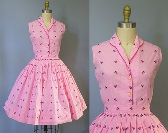 1950s pink cherry print dress/ 50s gingham fruit apple print skirt set/ extra small xs