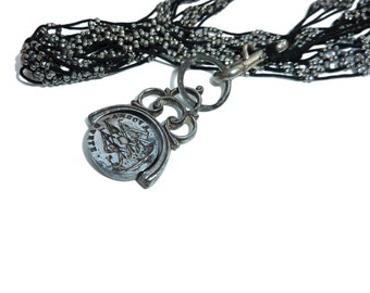 Victorian Cut Steel Necklace With Georgian Metal Spinner Fob With Ship And Swan