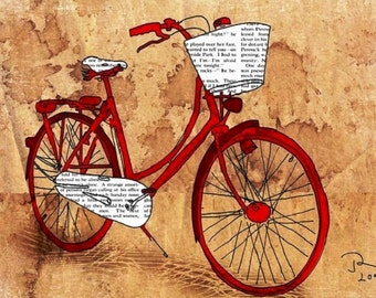 Bicycle Print Illustration,  Bike Home Decor,  Antique Bicycle Print with Antique Aged Paper Background,   Street Art Collage