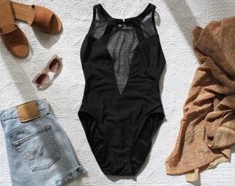 Vintage 80s 90s Black Sheer Mesh HIGH CUT Swimsuit Bodysuit Cutout One-Piece