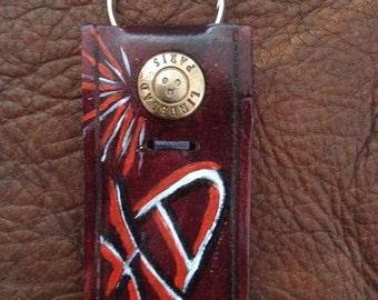 Keychain  braun leather   ref: PC 8