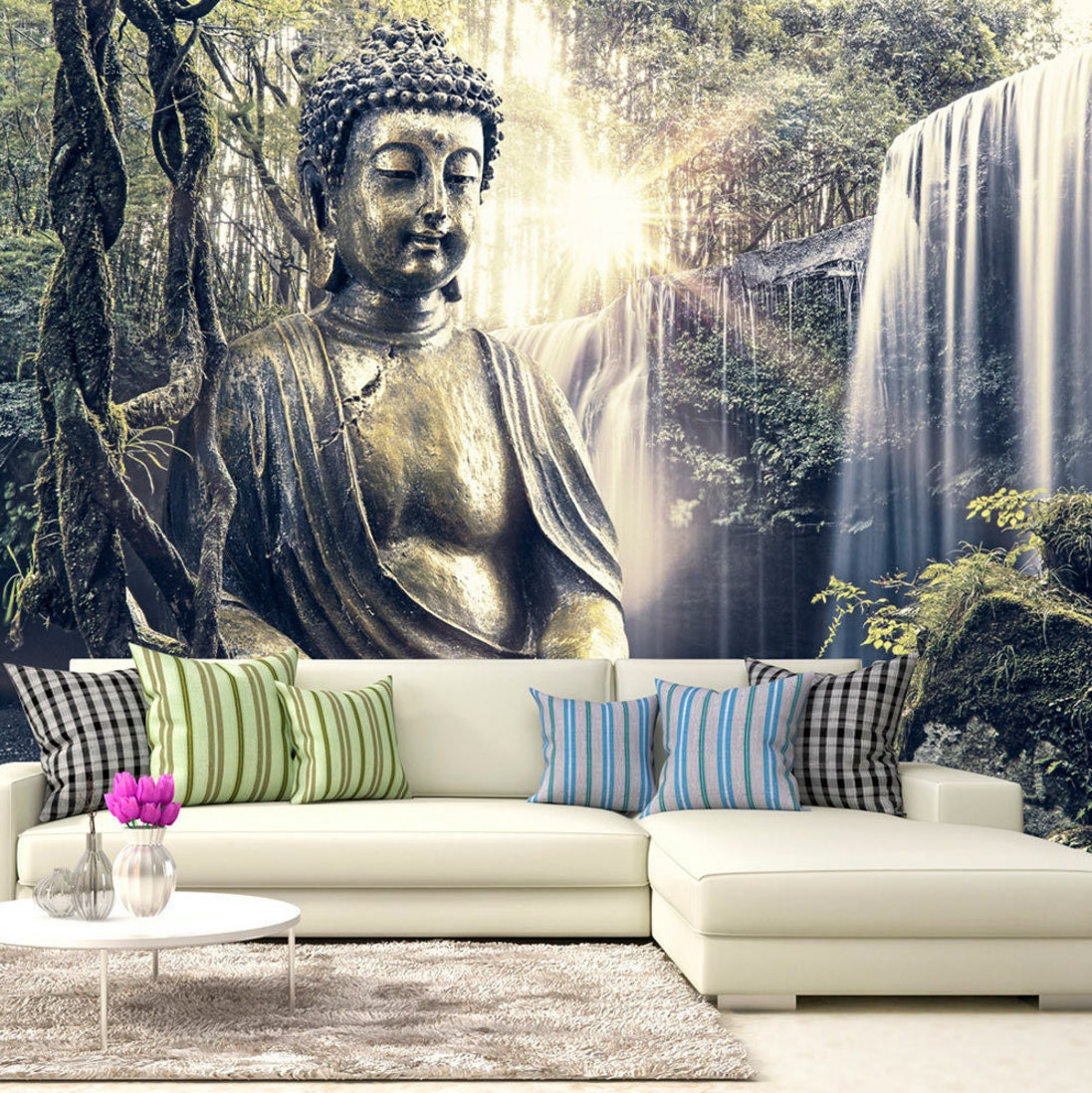 Photo wallpaper wall murals non woven 3d modern art buddha for Buddha decorations for the home uk